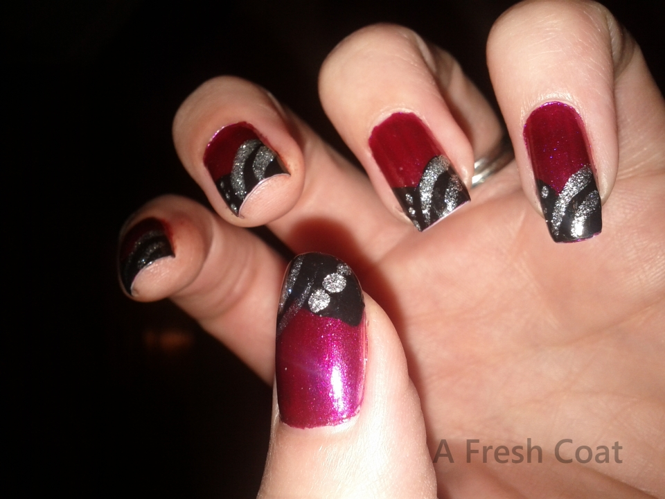 French Abstract Full Tip Nails