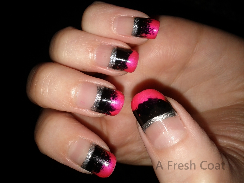 Hot Pink & Black French Graident